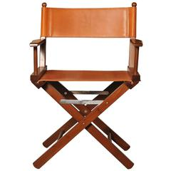 Iconic Cognac Leather Director's Chair