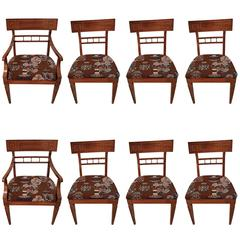 Set 8 Greek Key Dining Chairs, 2 Arm and 6 Armless, Attributed to James Mont