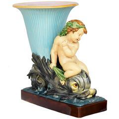19th Century Minton Majolica Monumental Turquoise Dolphin Vase Jardiniere