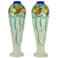 Pair of Art Deco Keramis Boch Blue Ribbons and Gourds Vases