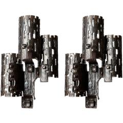 Large Unique Brutalist Sconces Wall Lights, Metal Wrought Iron, 1970