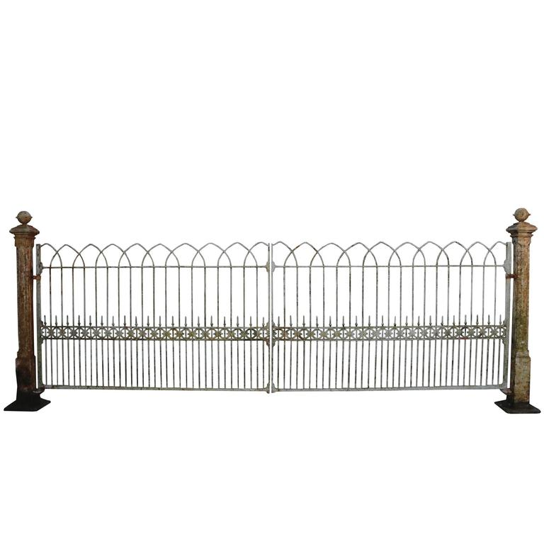 Reclaimed Pair Of Wrought Iron Driveway Gates Circa 1830s