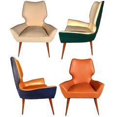 Pair of Mid-Century Modern Gio Ponti Style Chairs, 1950s