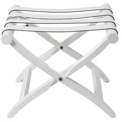 Luggage Rack, White Leather