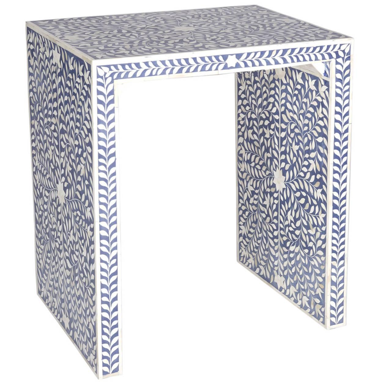 Captivating Blue Bone And Inlay Table At 1stdibs