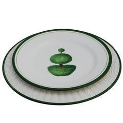 Elegant Topiary White Ceramic Dinner Plates, Set for Four
