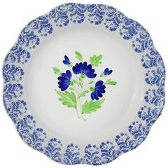 Set of Four Rustic Flower Ceramic Plates