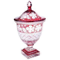 19th Century George III Bohemian Cranberry Glass Urn