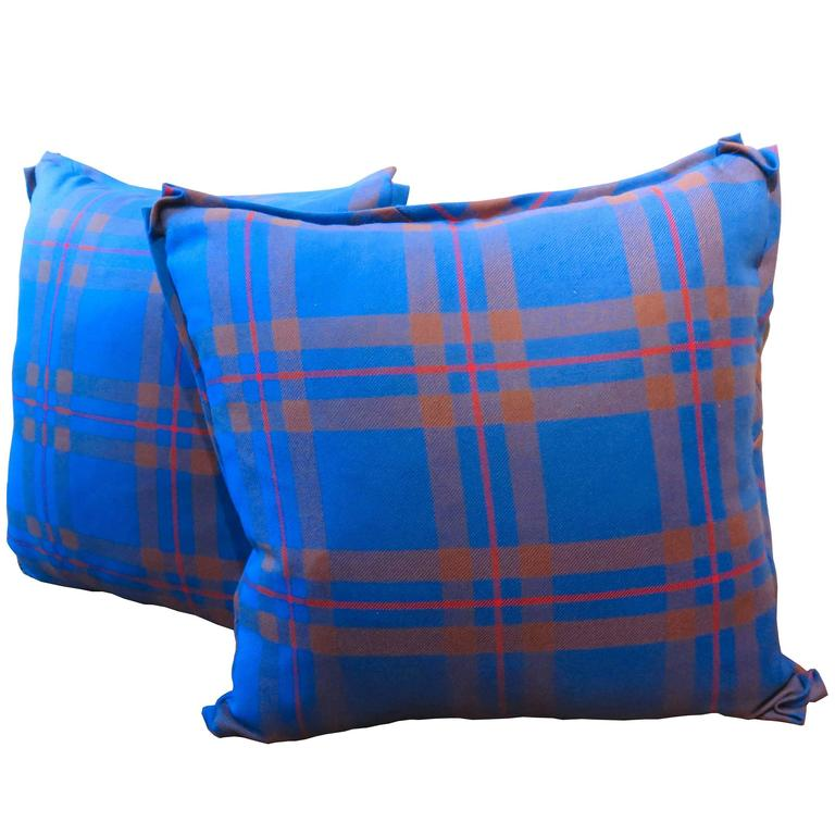 Modern Plaid Pillow : Elliott Modern Tartan Pair of Pillows For Sale at 1stdibs
