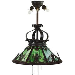 Green Slag Glass Iron Chandelier
