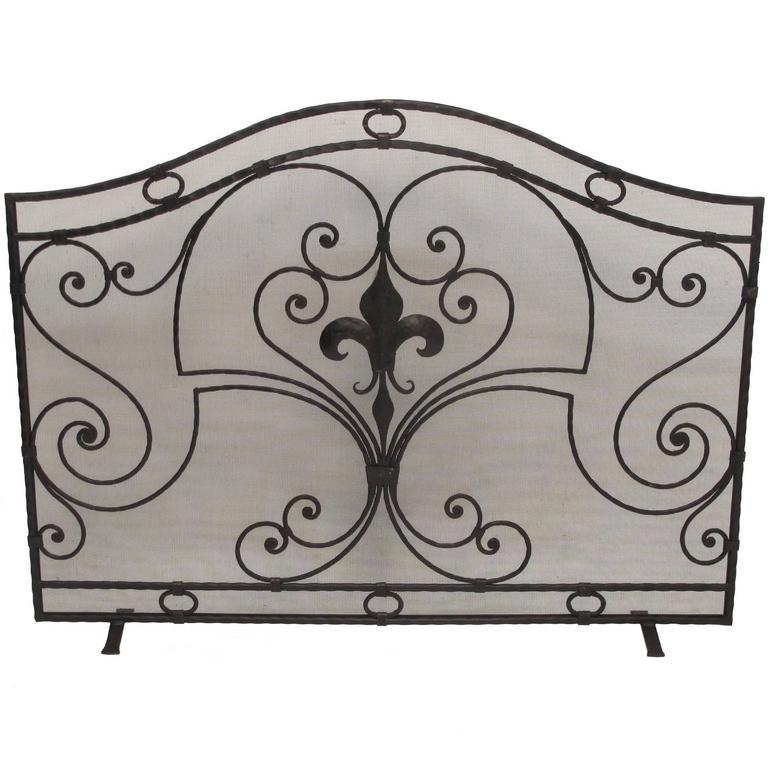 itm cast screen iron rustic fireplace screens classic decorative black contemporary
