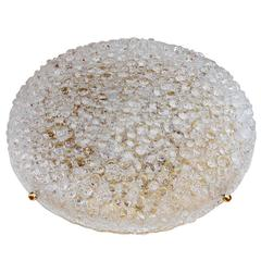 One of Two Huge 24 Inch Textured Bubble Glass Flush Mount Lights by Hillebrand