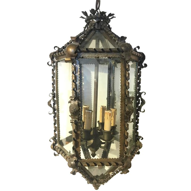 French Six-Sided Brass Hanging Lantern