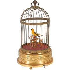 Karl Griesbaum German Brass Singing Bird Cage Music Box, Marked Kg Ken-D