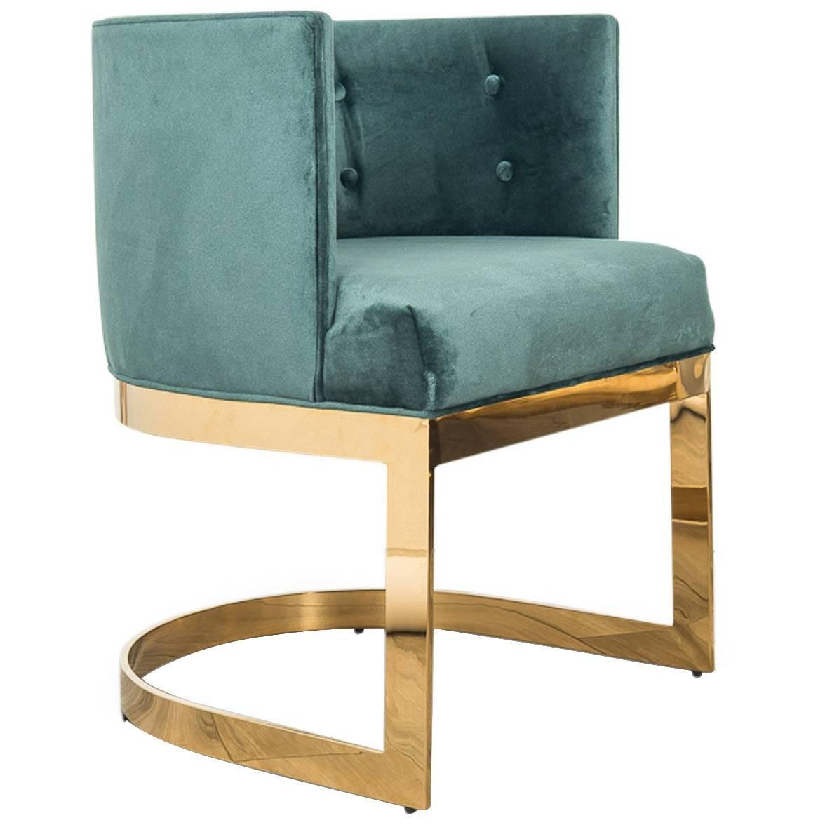 Art deco style ibiza dining chair in hunter green velvet w curved brass frame for sale at 1stdibs