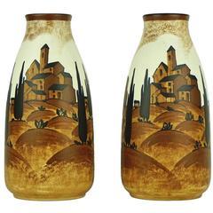 Pair of Art Deco Boch Keramis Vases with Village Landscape