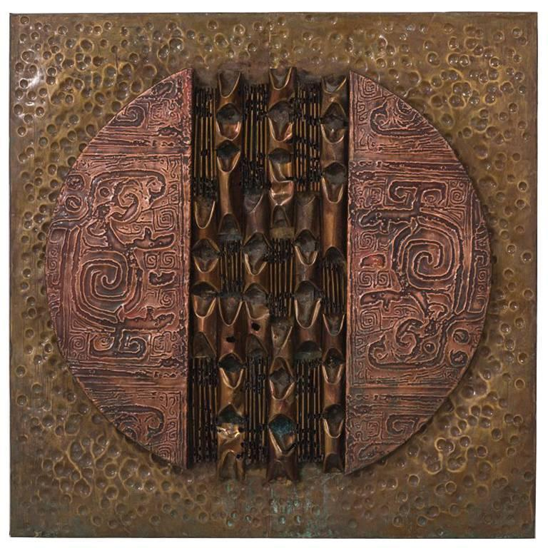 Square Brutalist Mixed Metal Wall Panel Sculpture, 1970s