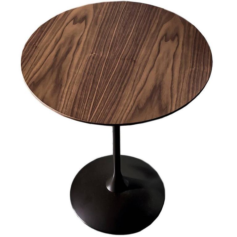 Elegant round walnut tulip coffee table for sale at 1stdibs for Tulip coffee table