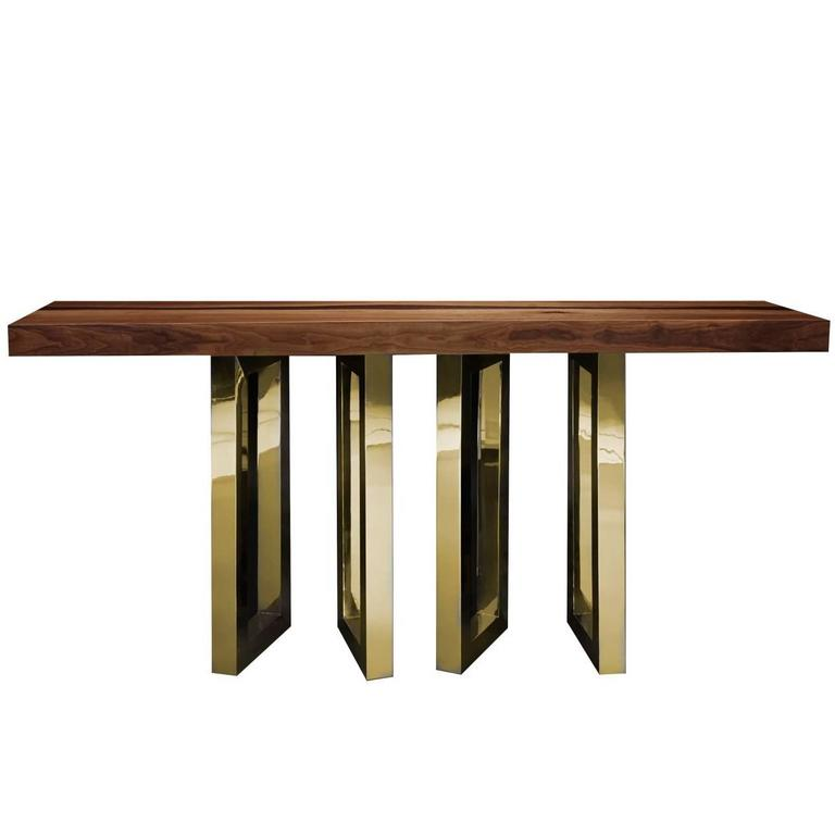 Elegant Console Table With Four Fine Brass Legs 1