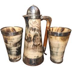 Late Victorian Hunting Racing Themed Tankard Beaker Set