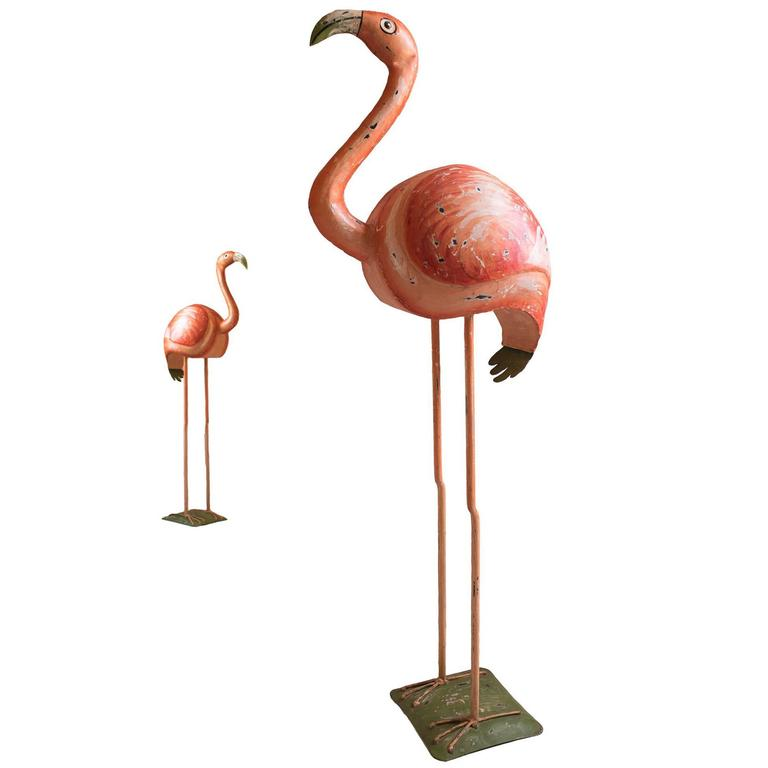 Hollywood Regency Vintage Flamingo Sculpture, Hand-Painted Metal ...