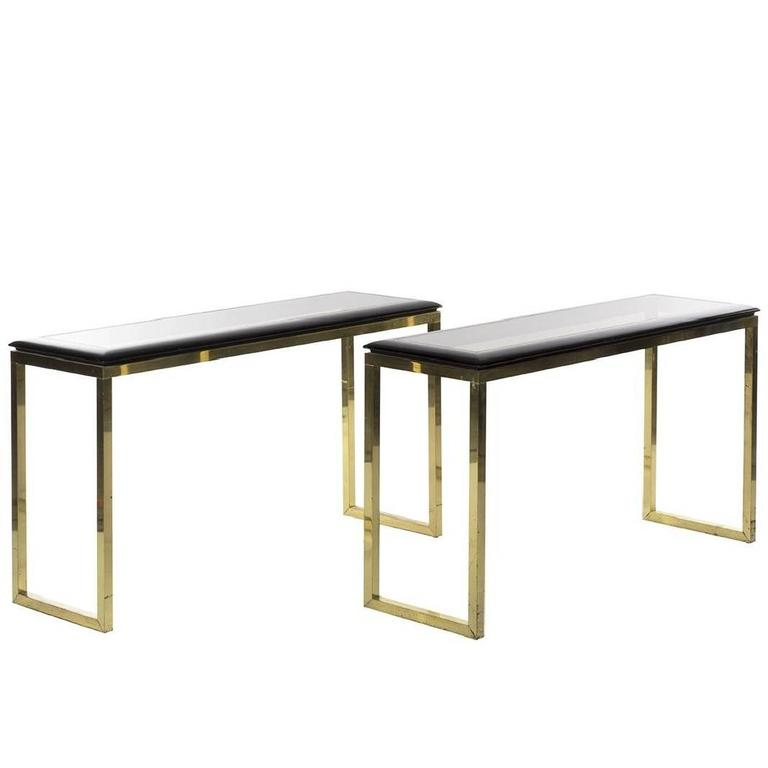 Pair of Italian Brass and Oak Console Tables Modern, 1970s