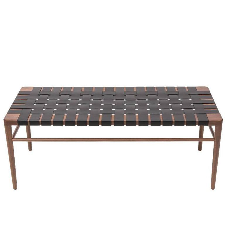 Walnut and Black Leather Rush Bench by Smilow Furniture