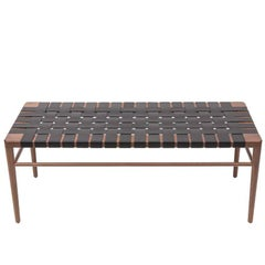 "Walnut and Black Leather Rush 60"" Bench by Smilow Furniture"