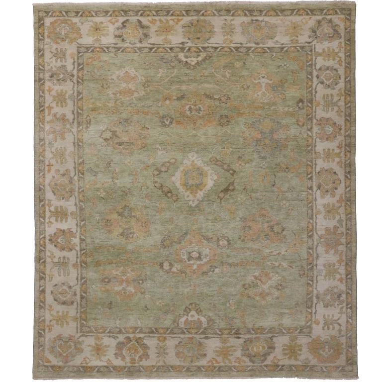 Modern Oushak Rug: Modern Oushak Design Rug With Transitional Style In Green