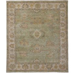 Modern Oushak Design Rug with Transitional Style in Green