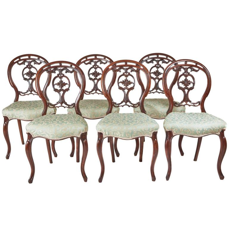 Set of Six 19th Century Victorian Walnut Dining Chairs