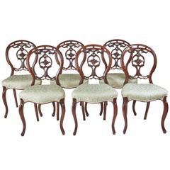 Set of Six 19th Century Victorian Walnut Dining Chairs