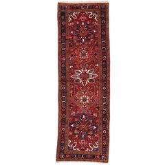 Vintage Persian Heriz Runner with English Tudor Manor House Style