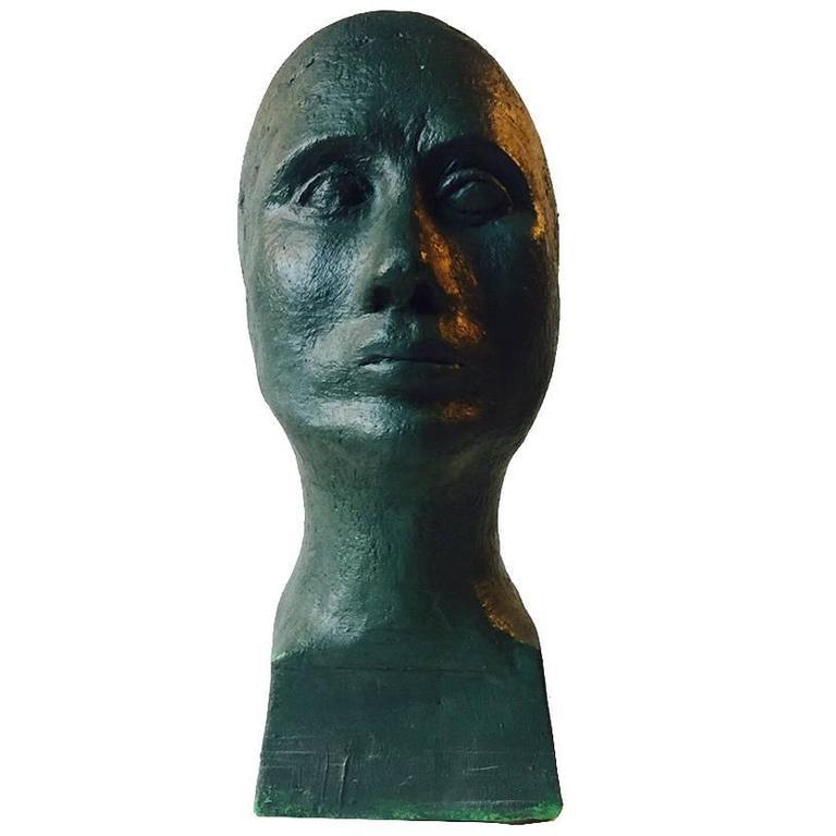 Unique Verdigris Green Concrete Bust by Anonymous Danish Artist, Denmark, 1970s
