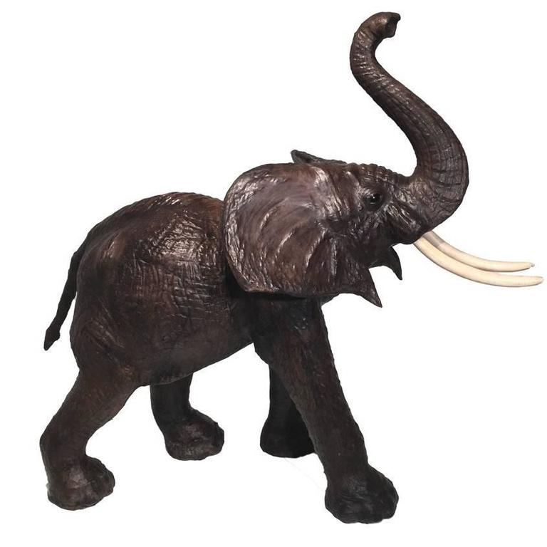 Amazing and Very Rare Elephant in Leather, circa 1960 For Sale
