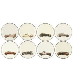 Set of Eight Fine Plates with Vintage Cars