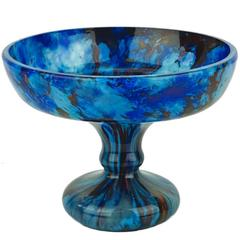 Large French Art Deco Charles Schneider Glass Blue Bowl