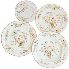 Set of Four Fine Plates with Parrots for Two