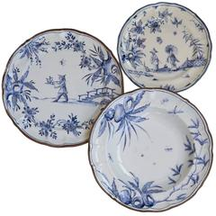 Set of Three Traditional Blue Plates for Two