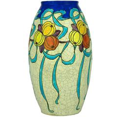 Art Deco Keramis Boch Blue Ribbons and Gourds Vase