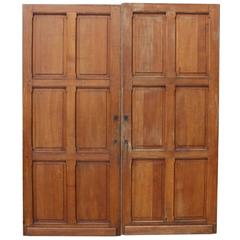 Pair of French Solid Oak Six-Panel Doors
