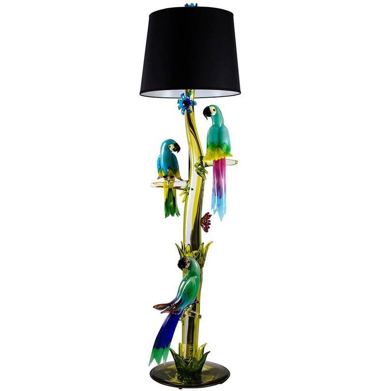 Murano Glass Parrot Floor Lamp