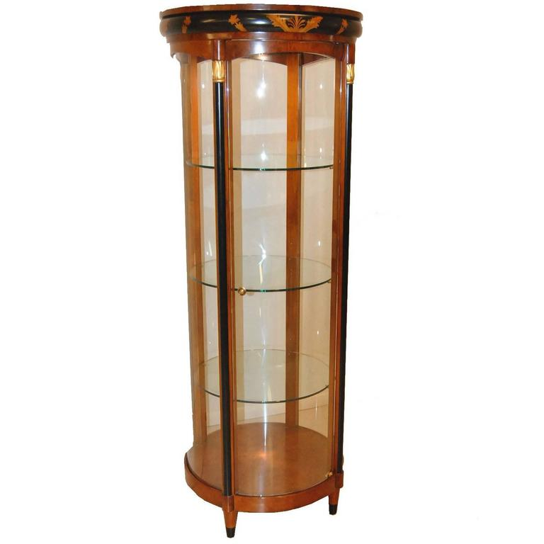 biedermeier style round curved glass lighted curio cabinet for sale at 1stdibs. Black Bedroom Furniture Sets. Home Design Ideas