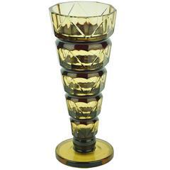 Art Deco Val Saint Lambert Topaz Slender Glass Vase