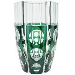 Large Art Deco Val Saint Lambert Cerbere Glass Vase