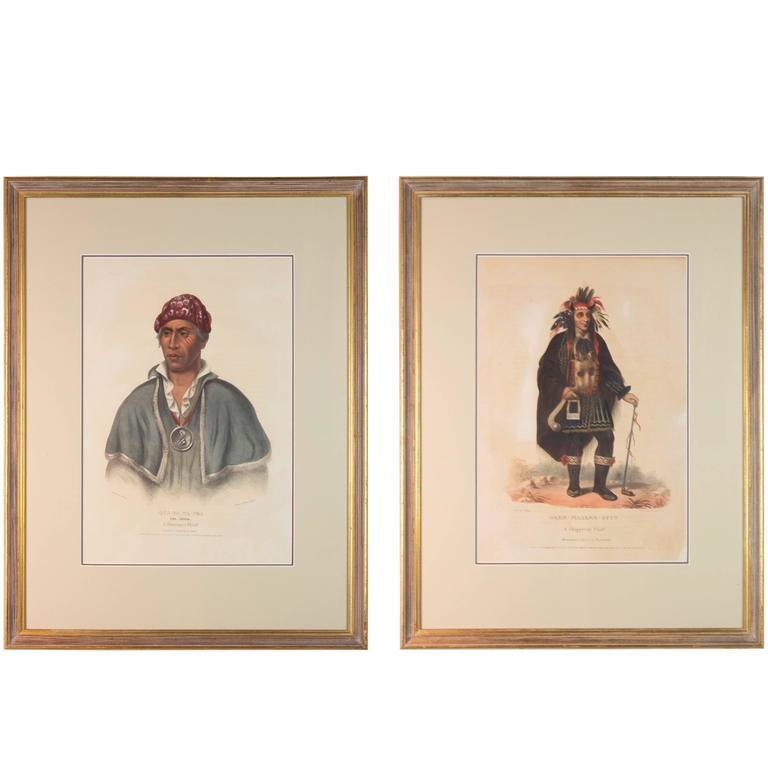 Pair of Original Hand Colored McKenney & Hall Lithographs of American Indians