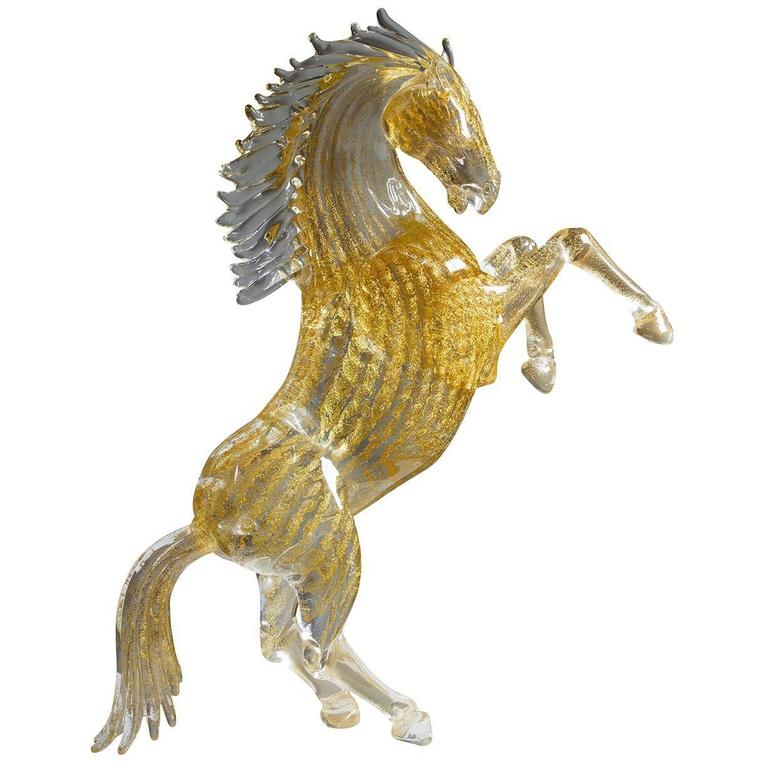 Small Gold Glass Rearing Horse Sculpture