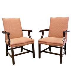 Pair of Custom English Style Mahogany Armchairs