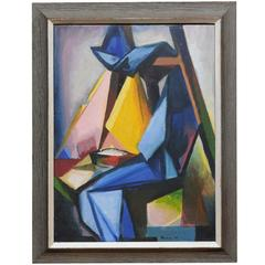 Mid-Century Modern Cubist Painting