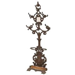 Ornate Rococo Cast Iron Hall Tree with Mirror, circa 1880s